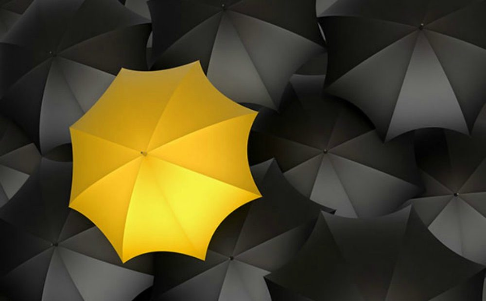 """A yellow umbrella among black ones"""